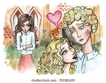 Love triangle. Couple in love with an angry girl standing beside. Hand drawn illustration. Watercolor painting