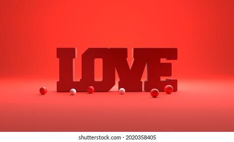 Love typography background. 3d Illustration