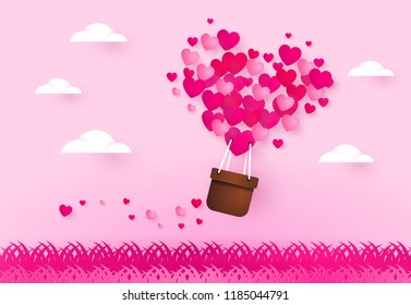 Love and valentine day. Hearts in heart air balloon.