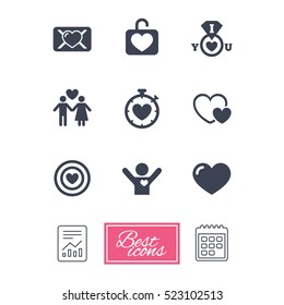 Love Valentine Day Icons Target Heart Stock Illustration 549348157