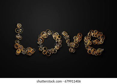 Love word formed out of gold rings, bracelets, jewels, pendants and other jewelry. 3D illustration.