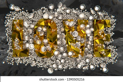 LOVE word in gold with diamonds on black concrete. 3D illustration