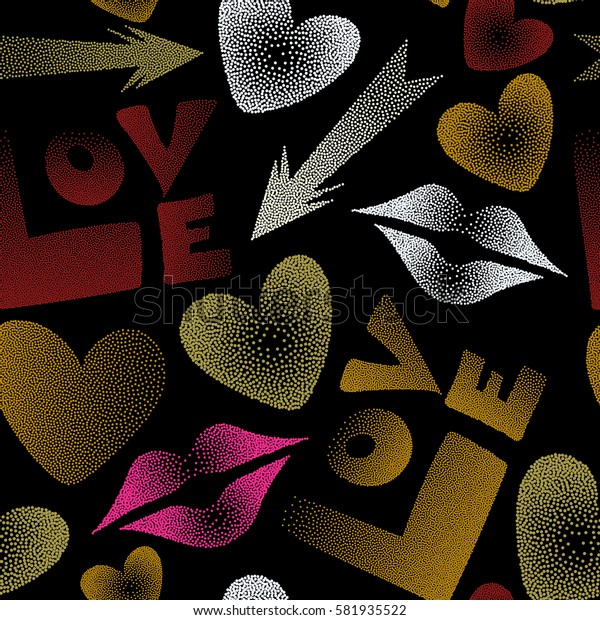 Love word, hearts and lipstick kiss seamless pattern on black background. Stock illustration in yellow and red colors.
