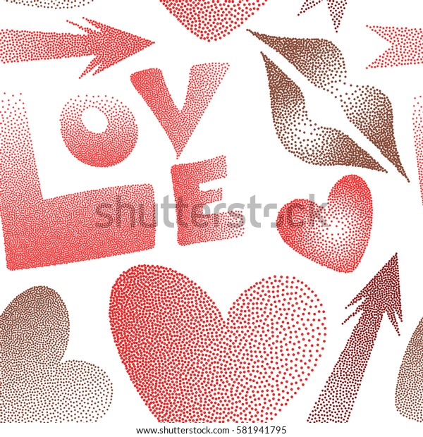 Love word, hearts and lipstick kiss seamless pattern on white background. Stock illustration in brown, red and orange colors.