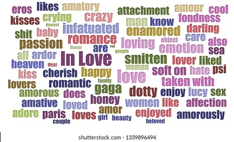 In Love Wordcloud In Rows Isolated On White
