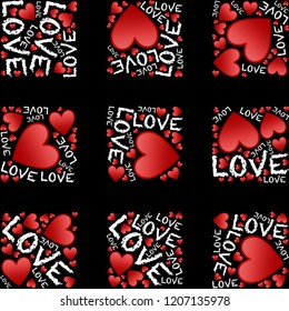 Love words with red hearts on black background checkered pattern image