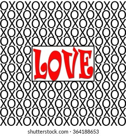Love XOs is a simple pattern design of the symbols of hugs and kisses in Black with the word LOVE in bold solid red letters on top of a solid white background. Great for Valentine's Day.