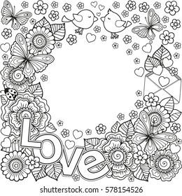Corner Doodle Vignette Coloring Book Adult Stock Illustration