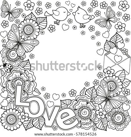 Love You Abstract Coloring Book Adult Stock Illustration 578154526 ...