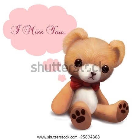 Royalty Free Stock Illustration Of Love You Cute Teddy Bear Stock