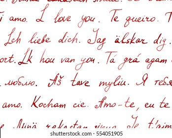 I love you in different languages - seamless text. Vintage hand written letter. Repeating pattern (handwritten words background)
