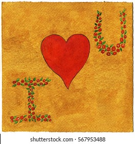 I love you message drawn with watercolors on a golden handmade paper.
