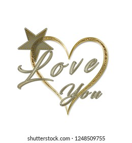 Love you star slogan Black with backraund