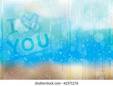 I love you, text on the condensation window, after rain