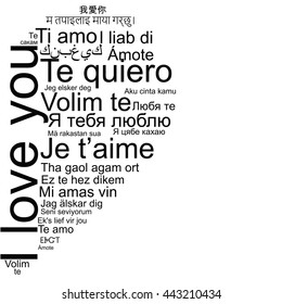 I love you word tag cloud the shape as a heart in many languages. Valentine greeting card Isolated on white.