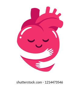 Love yourself, cute cartoon heart character hug. Realistic anatomic heart with hugging arms shape. Self care and happiness illustration.