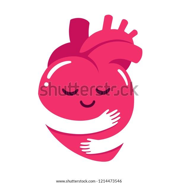 Love Yourself Cute Cartoon Heart Character Stock Illustration 1214473546