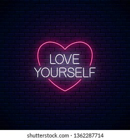 love yourself glowing neon inscription 260nw 1362287714