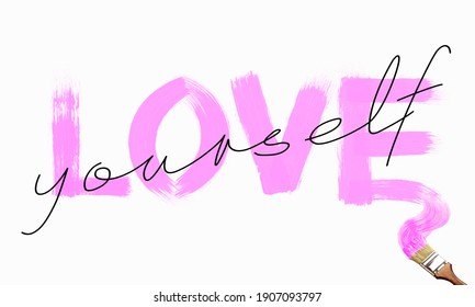 LOVE YOURSELF lettering with brush stroke effect on white background