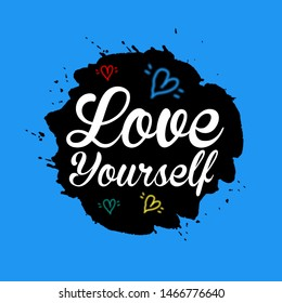 Love Yourself With (Skyblue & Black Background)