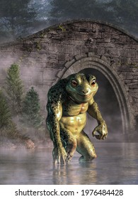The Loveland Frogman is a legendary cryptid of Ohio folklore. It is said to be a humanoid frog or lizard seen near waterways. In this scene, the monster wades in waters by a stone bridge. 3D Rendering