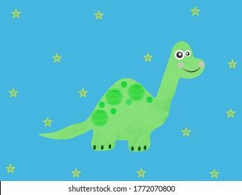 Lovely Baby Dinosaur Illustration Background