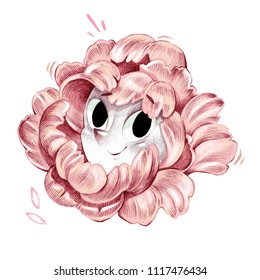 Lovely black eyed pink flower smiling face artistic pencil illustration drawing isolated on white decoration
