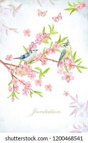 lovely blossom invitation banner. watercolor painting