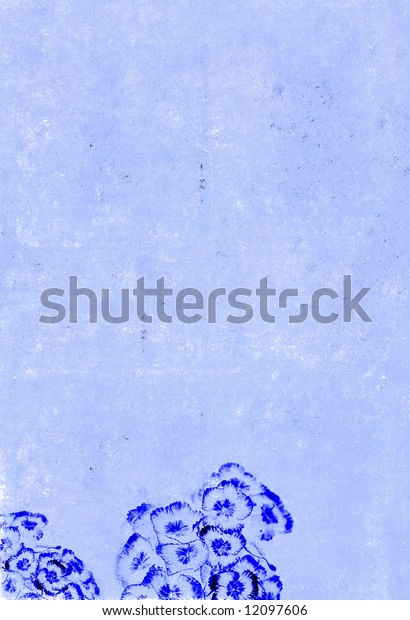 lovely blue background image with interesting texture, floral elements and plenty of space for text