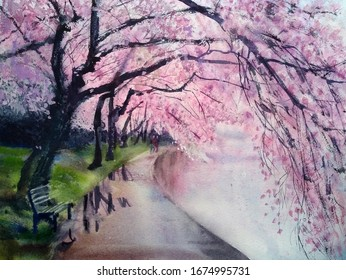 lovely branches of pink cherry blossom trees lean over the path in the Park, inviting you to walk, watercolor painting
