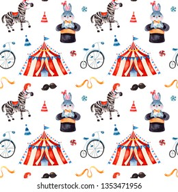 Lovely circus pattern.Seamless Texture with cute little bunny in a hat,zebra,circus tent,ribbon,bike.Perfect for wedding,invitations,wallpaper,print,packaging design,Birthday cards and baby shower.