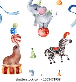 Lovely circus pattern.Seamless Texture with cute little elephant on the ball,zebra,fur seal,ribbon.Perfect for wedding,invitations,wallpaper,print,packaging design,Birthday cards and baby shower