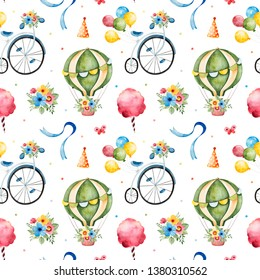 Lovely circus pattern.Seamless Texture with cute air balloon,bouquets,vintage bicycle,ribbons and more.Perfect for wedding,invitations,wallpaper,print,packaging design,Birthday cards and baby shower.