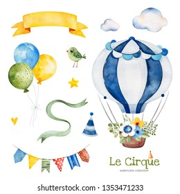 Lovely circus set.Illustration with colorful air ballon,bird,clouds,garland,ribbon banner,bouquet and more.Perfect for wedding,invitations,blogs,template card,Birthday and baby cards,patterns,quotes.