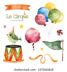 Lovely circus set.Illustration with colorful air ballons,bird,flag,candy,ribbon banner and more.Perfect for wedding,invitations,blogs,template card,Birthday and baby cards,patterns,quotes.