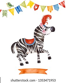 Lovely circus set.Illustration with cute little zebra,bird,ribbon and multicolored garlands .Perfect for wedding,invitations,blogs,template card,greeting,Birthday cards and baby shower.