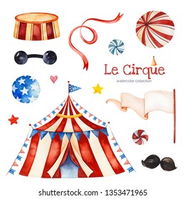 Lovely circus set.Illustration with circus tent,candy,balls,garland,moustaches,ribbon,flag banner and more.Perfect for wedding,invitations,blogs,template card,Birthday and baby cards,patterns,quotes.