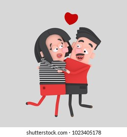 Lovely couple embracing and kissing. 3d illustration