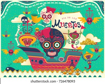 Lovely Day of the Dead poster, smelling skulls on a boat isolated on turquoise background in flat style, holiday's name in Spanish