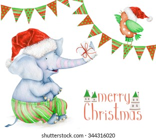 Lovely greeting card Merry Christmas. Watercolor