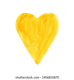 Lovely heart in a spring yellow and green colors. Love symbol, Valentine's card. Pastel colors and light grunge texture, dry brush strokes, dyed wooden surface. Template for holiday card decor.