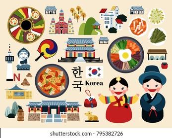 Lovely Korea travel concept set, Korean traditional culture symbol collection, korea country name in Korean words