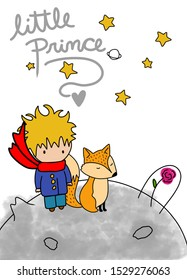 Lovely little prince. Friendship with Fox. Cute friends