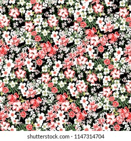 Lovely Love Little Tiny Small Red Violet  Rose Flowers on Floral Light Seamless Repeating  Background Artistic Wallpaper Pattern for Valentine's Day Bridal Baby Shower Christmas Holiday