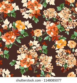 Lovely Love Little Tiny Small Orange Yellow  Violet  Rose Flowers on Floral Dark Brown  Seamless Repeating  Background Artistic Wallpaper Pattern for Valentine's Day Baby Bridal Shower Invitation Card