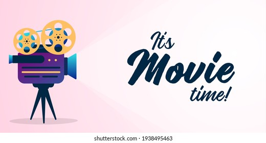 Lovely movie time concept with film projector and text area with sample title in bright colors. illustration.