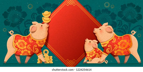 Lovely paper art piggy which are wearing traditional clothes with spring couplets background, Chinese new year banner