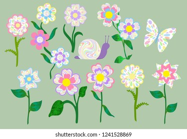 Lovely pastel colored psychedelic cartoon flowers and a butterfly and snail. Isolated.