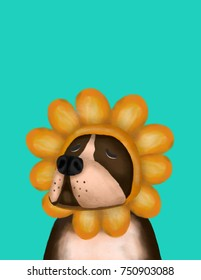 Lovely pit bull terrier dog wearing sunflower head. Greetings Card and poster illustration have space for your text.