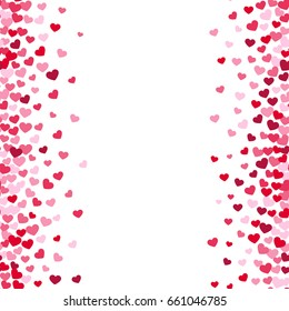Lovely romance valentine white backgrouns with pink and red heart borders. Valentines day card template